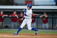 Tanner Stanley (33) of the Burlington Royals follows through on his swing against the Johnson City Cardinals at Burlington Athletic Park on August 22, 2015 in Burlington, North Carolina.  The Cardinals defeated the Royals 9-3. (Brian Westerholt/Four Seam Images)