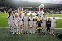 Wednesday, 01 January 2014<br /> Pictured: Children mascots.<br /> Re: Barclay's Premier League, Swansea City FC v Manchester City at the Liberty Stadium, south Wales.