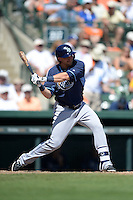 Tampa Bay Rays third baseman Taylor Motter (69) during a Spring Training game against the Baltimore Orioles on March 14, 2015 at Ed Smith Stadium in Sarasota, Florida.  Tampa Bay defeated Baltimore 3-2.  (Mike Janes/Four Seam Images)