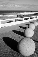 Spherical bollards on Merewether Beach at Newcastle, New South Wales