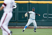 UCLA pitcher Nick Vander Tuig (21) makes a throw from the outfield against the North Carolina State Wolfpack during Game 8 of the 2013 Men's College World Series on June 18, 2013 at TD Ameritrade Park in Omaha, Nebraska. The Bruins defeated the Wolfpack 2-1, eliminating North Carolina State from the tournament. (Andrew Woolley/Four Seam Images)