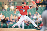 Rochester Red Wings relief pitcher Drew Rucinski (18) delivers a pitch during the first game of a doubleheader against the Scranton/Wilkes-Barre RailRiders on August 23, 2017 at Frontier Field in Rochester, New York.  Rochester defeated Scranton 5-4 in a game that was originally started on August 22nd but postponed due to inclement weather.  (Mike Janes/Four Seam Images)