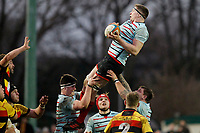 Tom Baldwin of Blackheath Rugby claims the line-out ball during the English National League match between Richmond and Blackheath  at Richmond Athletic Ground, Richmond, United Kingdom on 4 January 2020. Photo by Carlton Myrie.