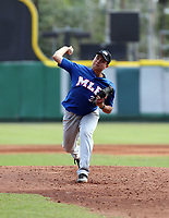 Jorman Gonzalez participates in the MLB International Showcase at Estadio Quisqeya on February 22-23, 2017 in Santo Domingo, Dominican Republic.