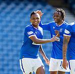 Rangers v St Mirren: Alfredo Morelos takes the acclaim of team mate Joe Aribo after scoring his second goal