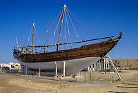 Sur, Oman.  A Ghanjah-type Dhow Built in Sur in 1951.