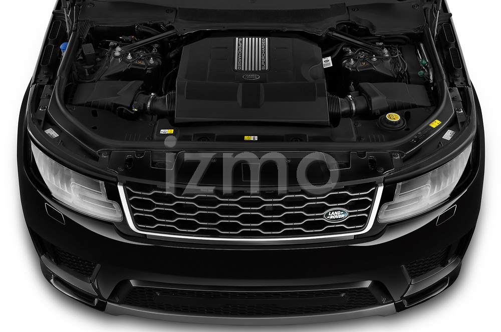Car Stock 2020 Land Rover Range-Rover-Sport HSE-PHEV 5 Door SUV Engine  high angle detail view