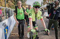 Rigoberto Uran (COL/Cannondale-Drapac) escorted to the podium after winning the 98th edition of Milano - Torino 2017 (ITA) 186km