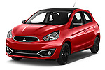 2019 Mitsubishi Space-Star Black-Collection 5 Door Hatchback Angular Front stock photos of front three quarter view