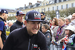 Heinrich Haussler (AUS) IAM Cycling team at the Team Presentations in Compiegne before the 2015 Paris-Roubaix cycle race held over the cobbled roads of Northern France. 11th April 2015.<br /> Photo: Eoin Clarke www.newsfile.ie