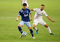 CARSON, CA - OCTOBER 18: Fredy Montero #12 of the Vancouver Whitecaps moves with the ball during a game between Vancouver Whitecaps and Los Angeles Galaxy at Dignity Heath Sports Park on October 18, 2020 in Carson, California.