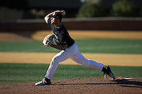 Wake Forest Demon Deacons relief pitcher John McCarren (45) in action against the Florida State Seminoles at David F. Couch Ballpark on April 16, 2016 in Winston-Salem, North Carolina.  The Seminoles defeated the Demon Deacons 13-8.  (Brian Westerholt/Four Seam Images)
