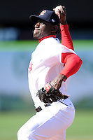 Portland Sea Dogs pitcher Jose Valdez (35) during a game versus the Trenton Thunder at Hadlock Field in Portland, Maine on May 17, 2014. (Ken Babbitt/Four Seam Images)