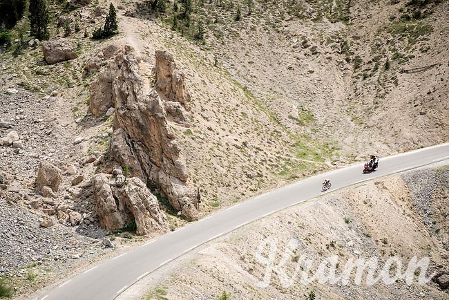 race leader (at that point) Julien Bernard (FRA/Trek-Segafredo) up the Col de l'Izoard (HC/2354m/14.2km@7%), in the Casse Déserte<br /> <br /> Stage 18: Embrun to Valloire(208km)<br /> 106th Tour de France 2019 (2.UWT)<br /> <br /> ©kramon