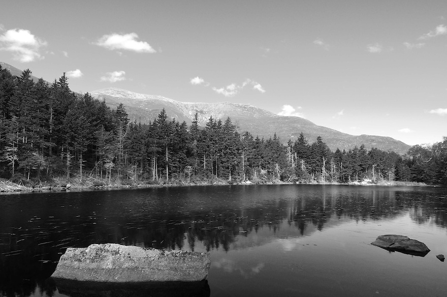 Lost Pond is nestled between the Presidential Range to the west and the rugged Wildcats to the East at the height of land in Pinkham Notch. A short but rough hike along the lost pond trail rewards trampers with a stunning view to Mt. Washington from it's shore.