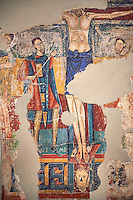 Twelfth Century Romanesque fresco of the soldier spearing the side of Jesus on the cross of Calvary from the church of Santa Maria de Taull, La Vall de Boi, Alta Ribagorca, Spain. National Art Museum of Catalonia, Barcelona. MNAC 3915