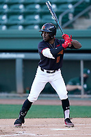 Center fielder Chris Alleyne (11) of the Maryland Terrapins bats in a game against the Michigan State Spartans on Saturday, March 6, 2021, at Fluor Field at the West End in Greenville, South Carolina. (Tom Priddy/Four Seam Images)