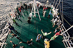 An afternoon dance session on the top of a ship in Northern Canada. The people are part of the Cape Farewell Youth Expedition organized by the British Council of Canada.