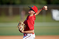 Dylan Schwartz (43) during the WWBA World Championship at the Roger Dean Complex on October 13, 2019 in Jupiter, Florida.  Dylan Schwartz attends Ontario Christian High School in Chino, CA and is committed to Pepperdine.  (Mike Janes/Four Seam Images)