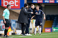 Mark Molesley, Manager, Southend United imparts a message to Jason Demetriou, Southend United during Southend United vs Cheltenham Town, Sky Bet EFL League 2 Football at Roots Hall on 17th October 2020