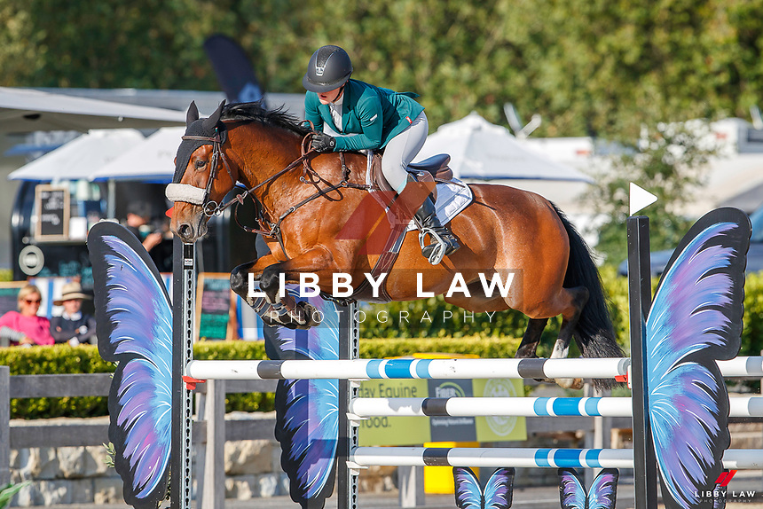 NZL-Maya Hegh rides Triple Star One Of A Kind. Class 12: KAWASAKI Pony Speed Class 1.15m. 2021 NZL-Takapoto Estate Showjumping 2021 - Week Two. Saturday 27 February. Copyright Photo: Libby Law Photography