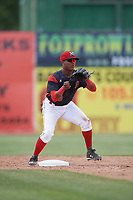 Batavia Muckdogs shortstop Marcos Rivera (8) waits for a throw during a game against the West Virginia Black Bears on June 25, 2017 at Dwyer Stadium in Batavia, New York.  West Virginia defeated Batavia 6-4 in the completion of the game started on June 24th.  (Mike Janes/Four Seam Images)