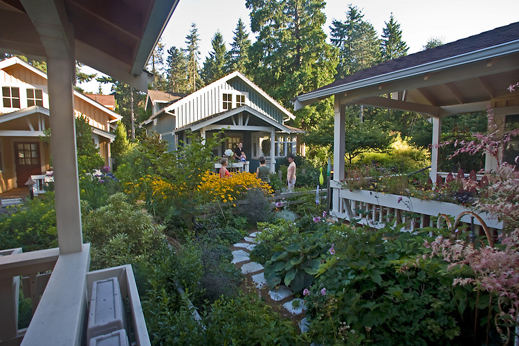 New Craftsman style cottages, Built Green Homes, Conover Commons,  the Cottage Company, Linda Pruitt, Developer, Ross Chapin, Architect, Seattle area, Redmond, Washington State, Pacific Northwest, USA,.