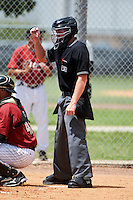 Umpire Chase Eade during a Gulf Coast League game between the GCL Astros and GCL Cardinals at Osceola County Complex on July 16, 2012 in Kissimmee, Florida.  GCL Astros defeated the GCL Cardinals 5-4.  (Mike Janes/Four Seam Images)
