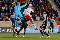 Harrison, NJ - Wednesday Feb. 22, 2017: David Ousted, Aurelien Collin during a Scotiabank CONCACAF Champions League quarterfinal match between the New York Red Bulls and the Vancouver Whitecaps FC at Red Bull Arena.