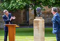 BNPS.co.uk (01202) 558833. <br /> Pic: CorinMesser/BNPS<br /> <br /> Pictured: Turing's nephew and fellow Sherborne School alumni, author Sir John Dermot Turing, left, applauds the work of sculptor David Williams-Ellis, right. <br /> <br /> A magnificent bronze bust of Enigma codebreaker Alan Turing has today gone on display at his former school.<br /> <br /> The bust, which is just over life size, stands on a plinth at Sherborne School in Dorset, where the genius mathematician and father of computer science was a pupil from 1926 to 1931.<br /> <br /> It was unveiled by Turing's nephew and fellow Sherborne School alumni, author Sir John Dermot Turing.<br /> <br /> During the Second World War Turing worked for the Government Code and Cypher School (GC&CS) at Bletchley Park, Bucks, Britain's code-breaking centre. He played a pivotal role in cracking the German Enigma code that enabled the Allies to defeat the Nazis in many crucial battles.<br /> <br /> The bust has been fashioned by acclaimed sculptor David Williams-Ellis, who has previously commemorated the D-Day landings in sculpture for the Normandy Memorial Trust.