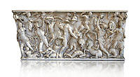 Roman sarcophagus depicting a battle between Achilles and Pentesilea and Amazons, the faces of the deceased have been sculpted over the Greek heroes, circa 230-250 AD, inv 933, Vatican Museum Rome, Italy,  white background