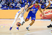 30th September 2021; Madrid, Spain:  Euroleague Basketball, Real Madrid versus Anadolu Efes Istanbul;  Thomas Heurtel of team Real Madrid and Krunoslav Simon during the Matchday 1 between Real Madrid and Anadolu Efes Istanbul