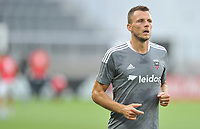 WASHINGTON, DC - JULY 7: Frederic Brilliant #13 of D.C. United warming up during a game between Liga Deportiva Alajuense  and D.C. United at Audi Field on July 7, 2021 in Washington, DC.