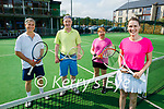 At the Tralee Tennis club at their mixed doubles on Sunday, front right: Stephanie Leonard (Ballymac). Back l to r: Rico Stein (Ballymac), Martin and Nora O'Sullivan (Tralee).