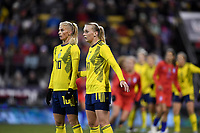 COLUMBUS, OH - NOVEMBER 07: Sofia Jakobsson #10 and Stina Blackstenius #11 of Sweden set up a wall during a game between Sweden and USWNT at MAPFRE Stadium on November 07, 2019 in Columbus, Ohio.