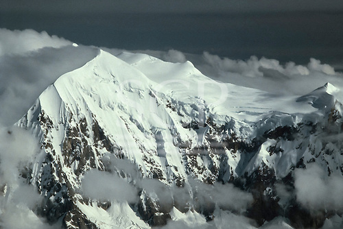 Peru. Aerial view of  Andean landscape of steep snow capped mountain peaks.
