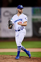 Justin Hoyt (46) of the Ogden Raptors delivers a pitch to the plate against the Great Falls Voyagers at Lindquist Field on September 14, 2017 in Ogden, Utah. The Raptors defeated the Voyagers 7-4 in Game One of the Pioneer League Championship. (Stephen Smith/Four Seam Images)
