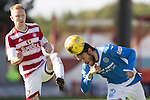 Hamilton Accies v St Johnstone…25.09.16.. New Douglas Park   SPFL<br />Murray Davidson heads the ball off the toes of Ali Crawford<br />Picture by Graeme Hart.<br />Copyright Perthshire Picture Agency<br />Tel: 01738 623350  Mobile: 07990 594431