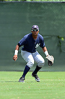 GCL Yankees 2 outfielder Jorge Alcantara (6) during practice before a game against the GCL Phillies on July 22, 2013 at Carpenter Complex in Clearwater, Florida.  GCL Yankees defeated the GCL Phillies 2-1.  (Mike Janes/Four Seam Images)