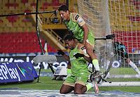 BOGOTÁ - COLOMBIA,  01-03-2021 Jose Barragan de Jaguares de Córdoba celebra después de anotar el gol de su equipo durante partido por la fecha 10 entre Millonarios y Jaguares de Córdoba  como parte de la Liga BetPlay DIMAYOR 2021 jugado en el estadio  Nemesio Camacho El Campin de la ciudad de Bogotá. / Jose Barragan of Jaguares de Cordoba celebrates after scoring the  goal of his team during match for the date 10 between  Millonarios  and Jaguares de Cordoba BetPlay DIMAYOR League I 2021 played at Nemesio Camacho El Campin stadium in Bogota city. Photo: VizzorImage / Felipe Caicedo / Staff