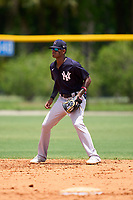 FCL Yankees shortstop Alexander Vargas (14) during a game against the FCL Tigers on June 28, 2021 at Tigertown in Lakeland, Florida.  (Mike Janes/Four Seam Images)