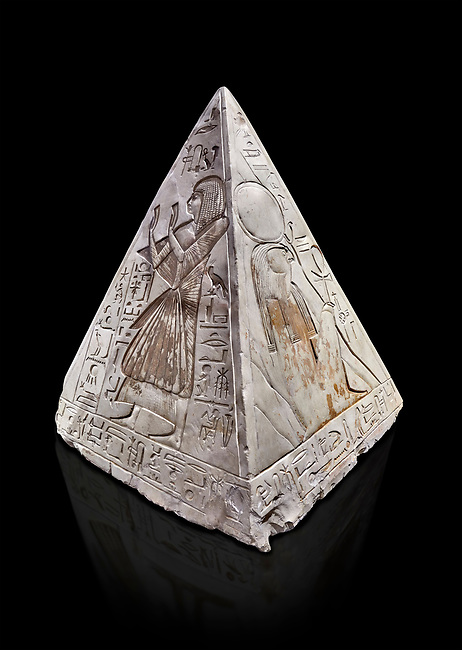 """Ancient Egyptian Pyramidion of Ramose North & East sides, Limestone, New Kingdom, 19th Dtnasty (1292-1190 BC), Dier el-Medina. Egyptian Museum, Turin. Old Fund cat 1603. black background.<br /> <br /> The north face of the Ramose Pyramidion explains the attribute of Horus as the strong coronal electric field of the Sun gifting the Ankh as a support to Life. It reads """"Strong coronal electric field supporting the Sun, negative charge induction."""""""" Weak electric field is an attribute of the anode Sun.""""""""Electricity supporting life to core charge store God"""".<br /> <br /> The east face of the Ramose Pyramidion shows the support for the structured plasma, her hands are held up representing the electric force on the perpendicular face to the North South axis of Horus, the strong coronal electric field. It reads"""" Structured plasma watched, attribute supporting life projecting power (negative charge) to support charge store (celestial body) electrostatic resonance."""""""" Seek home structured plasma to land negative charge projection by God as lightning attribute support celestial body via connection giving movement and [light].""""<br /> <br /> The limestone Pyramidion of Ramose, from the top of the tomb of the 'Necropolis Scribe'. Scenes on all four sides depict the worship of the sun."""