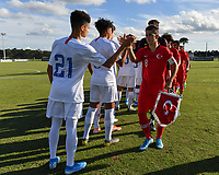 LAKEWOOD RANCH, FL - NOVEMBER 18: U-16 USBNT Starting XI shake hands with the U-16 Turkey Starting XI during a game between Turkey and U-16 USBNT at Premier Sports Campus on November 18, 2019 in Lakewood Ranch, Florida.