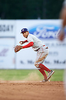 Auburn Doubledays shortstop Andres Martinez (5) throws to first base for the out during a game against the Batavia Muckdogs on June 19, 2017 at Dwyer Stadium in Batavia, New York.  Batavia defeated Auburn 8-2 in both teams opening game of the season.  (Mike Janes/Four Seam Images)