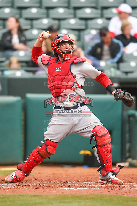Bryan Anderson (16) in action during the MiLB matchup between the Memphis Redbirds and the Oklahoma City Redhawks at Chickasaw Bricktown Ballpark on April 8th, 2012 in Oklahoma City, Oklahoma. The Redhawks defeated the Redbirds 8-1  (William Purnell/Four Seam Images)
