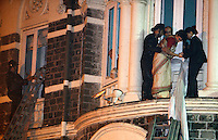 The fire brigade help under siege guests escape from theTaj Mahal Palace Hotel after multiple terrorist attacks were launched in Mumbai on 26/11/2008..