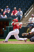 Springfield Cardinals center fielder Harrison Bader (33) hits a home run during a game against the Northwest Arkansas Naturals on April 27, 2016 at Hammons Field in Springfield, Missouri.  Springfield defeated Northwest Arkansas 8-1.  (Mike Janes/Four Seam Images)