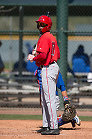Los Angeles Angels outfielder Trent Deveaux (17) during a Minor League Spring Training game against the Chicago Cubs at Sloan Park on March 20, 2018 in Mesa, Arizona. (Zachary Lucy/Four Seam Images)