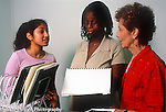 Teenager summer workplace internship female student with supervisor and program supervisor discussion in office