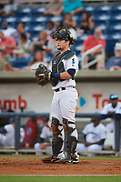 Pensacola Blue Wahoos Shrimp catcher Chris Okey (5) during a game against the Jacksonville Jumbo on August 15, 2018 at Blue Wahoos Stadium in Pensacola, Florida.  Jacksonville defeated Pensacola 9-2.  (Mike Janes/Four Seam Images)